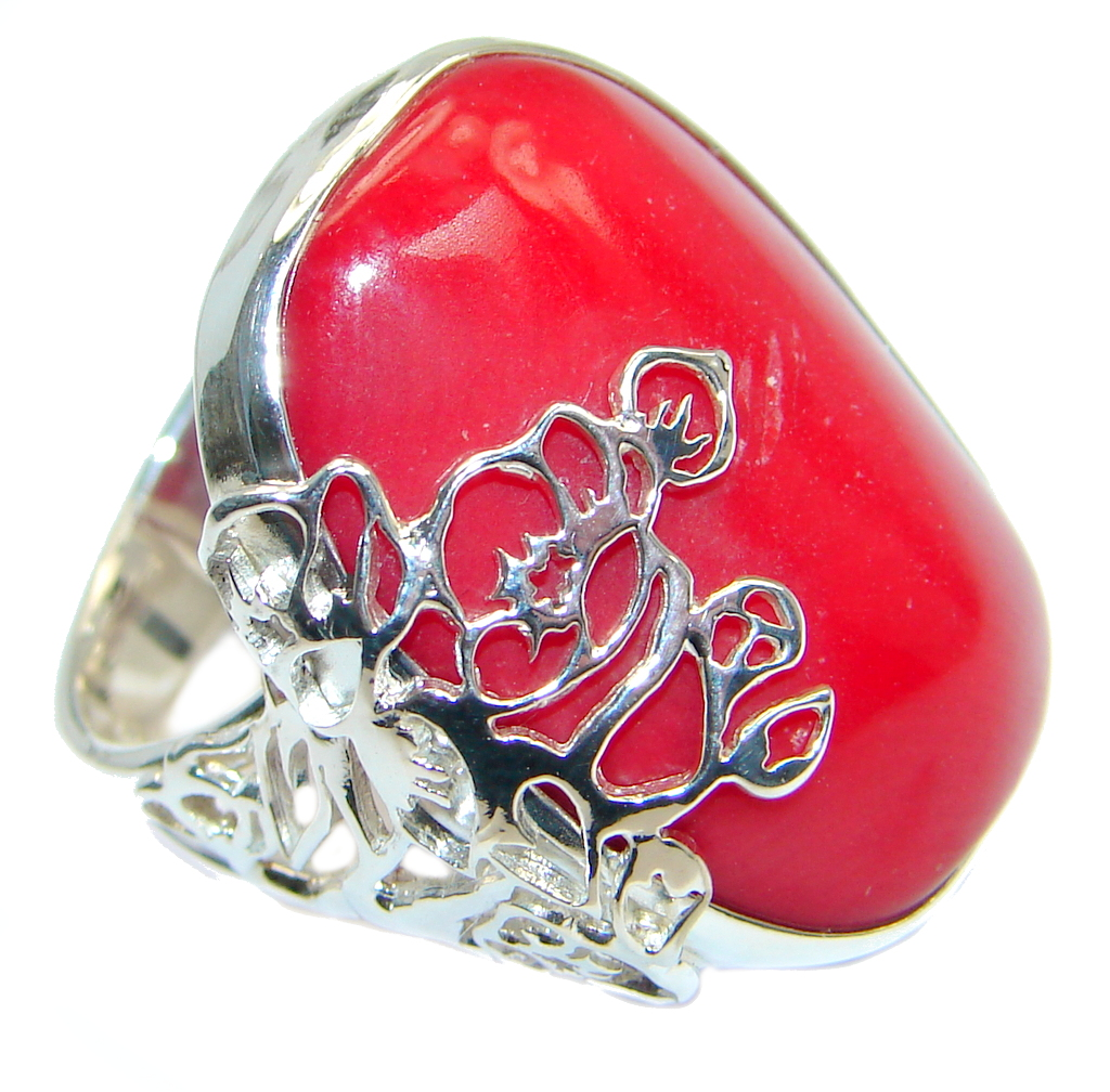 Gorgeous natural  Fossilized Coral Sterling Silver ring s. 7 adjustable