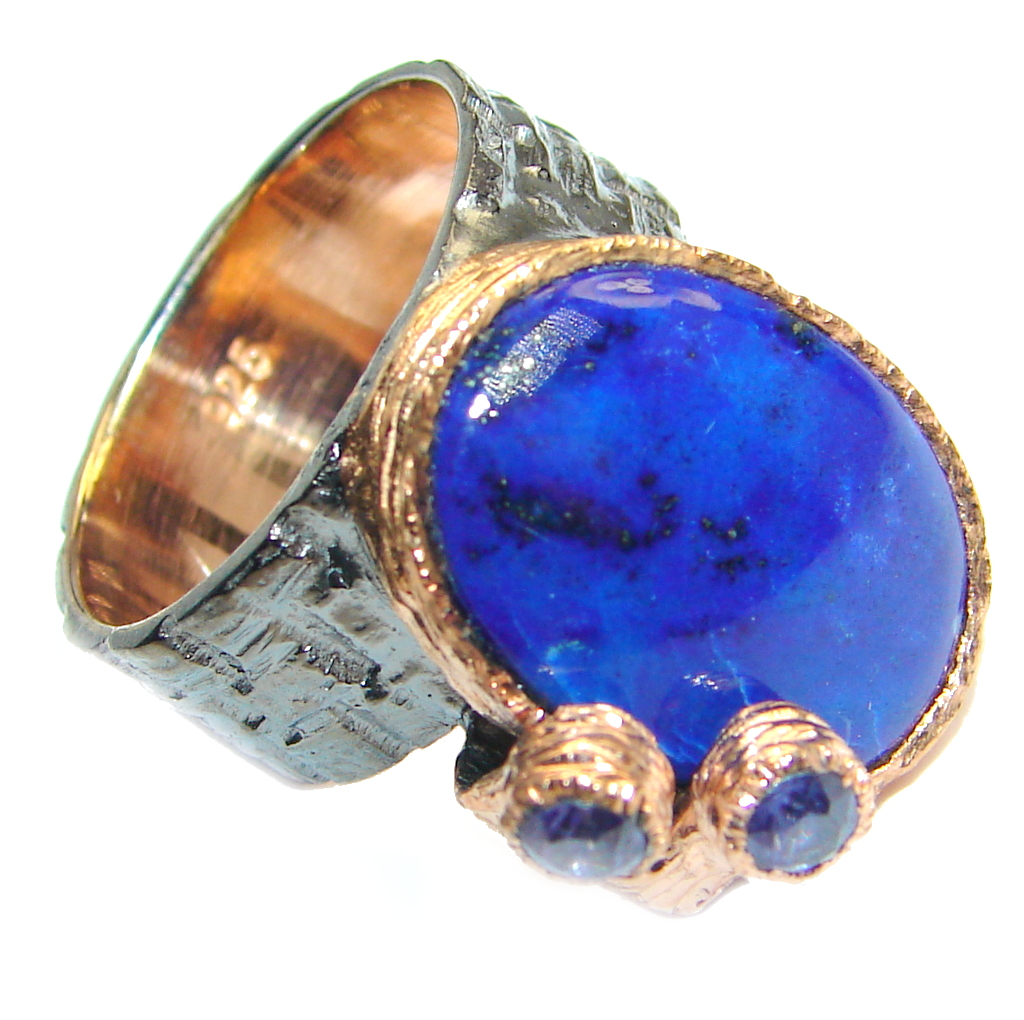Perfect Blue Lapis Lazuli Tanzanite Rose Gold Rhodium plated over Sterling Silver Ring size 6