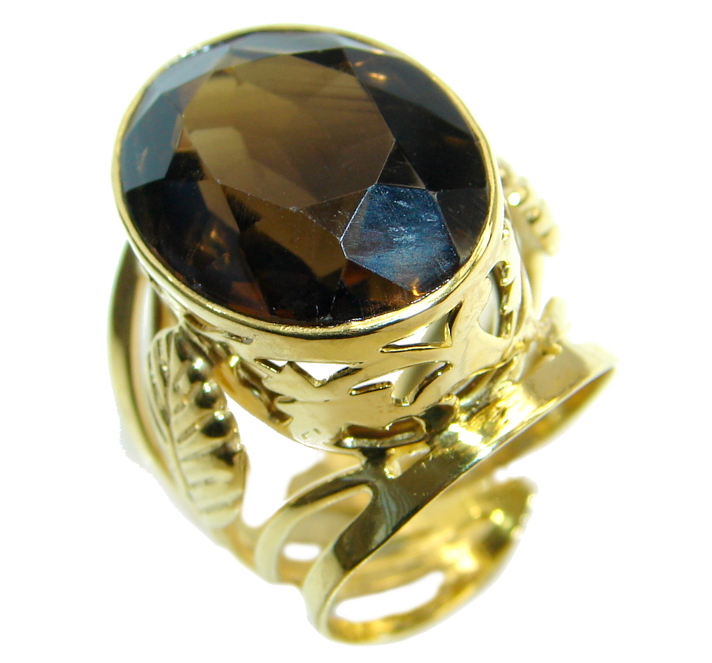 Amazing Genuine Smoky Topaz Gold plated over Sterling Silver ring size 7 adjustable