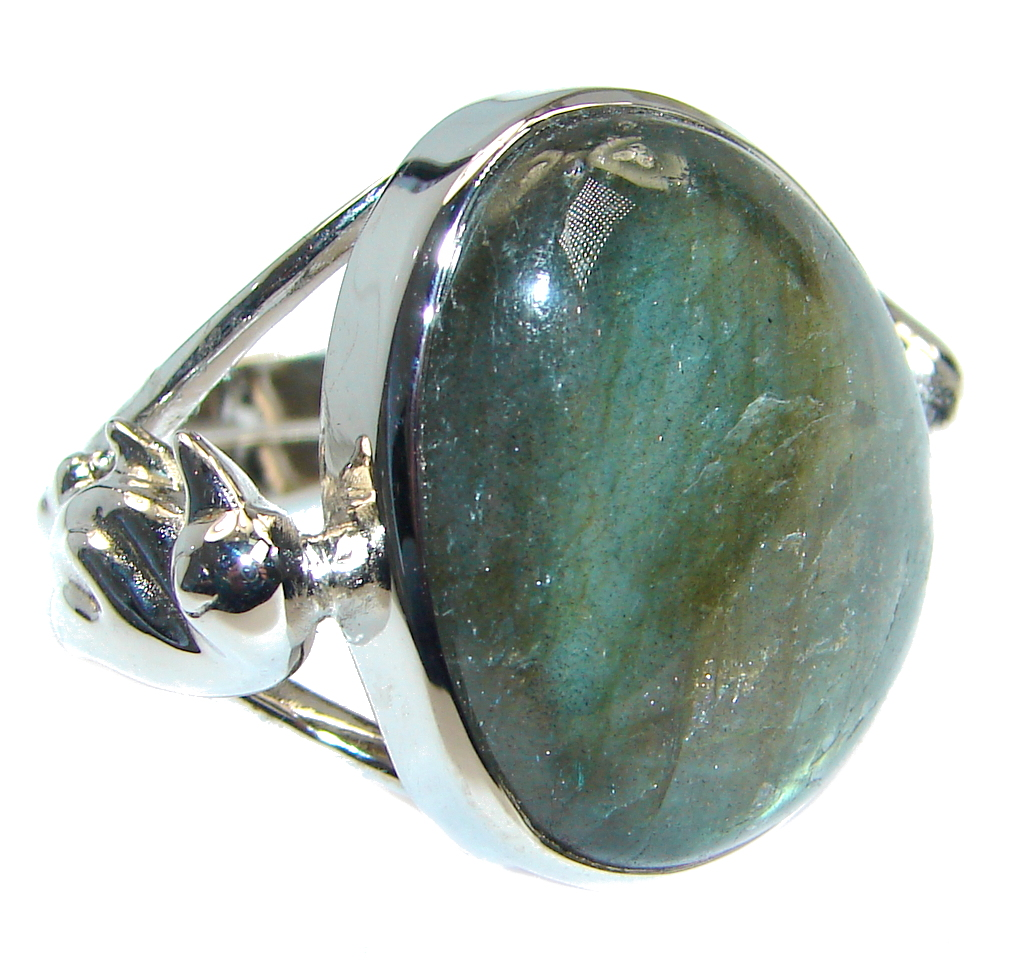 Blue Fire Labradorite Gold plated over Sterling Silver handmade ring size 9 adjustable