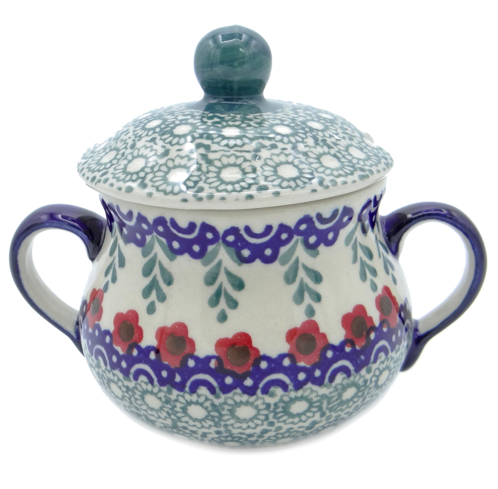 SilverrushStyle - Polish Pottery Sugar Bowl- Red Flowers Collection 120517