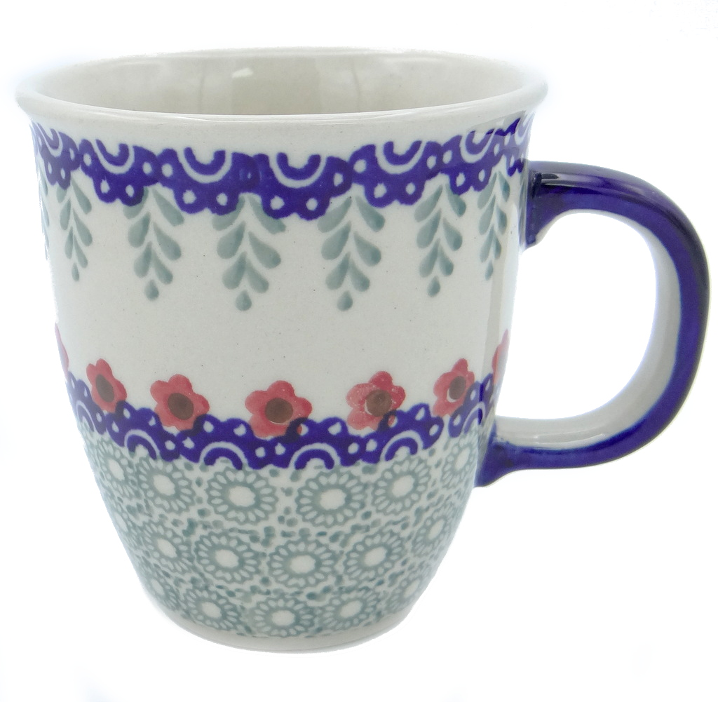 SilverrushStyle - Polish Pottery Coffee Mug - Red Flowers Collection 120523