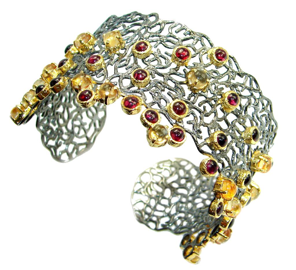 Chunky Genuine Garnet Citrine Gold Rhodium plated over Sterling Silver handmade Bracelet