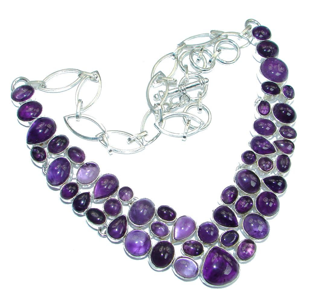 Huge Bohemian Style Genuine Amethyst Sterling Silver handmade necklace