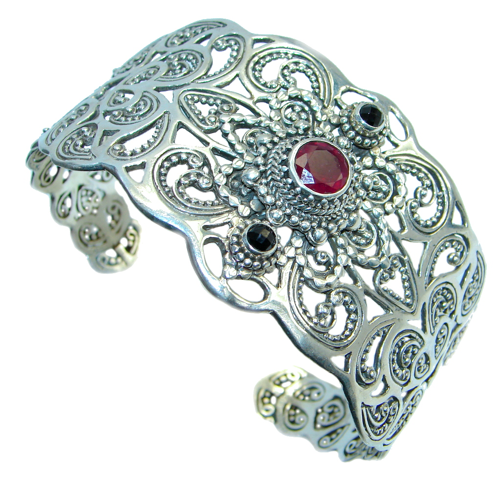 Chunky Genuine genuine Garnet Sterling Silver handcrafted Bracelet / Cuff