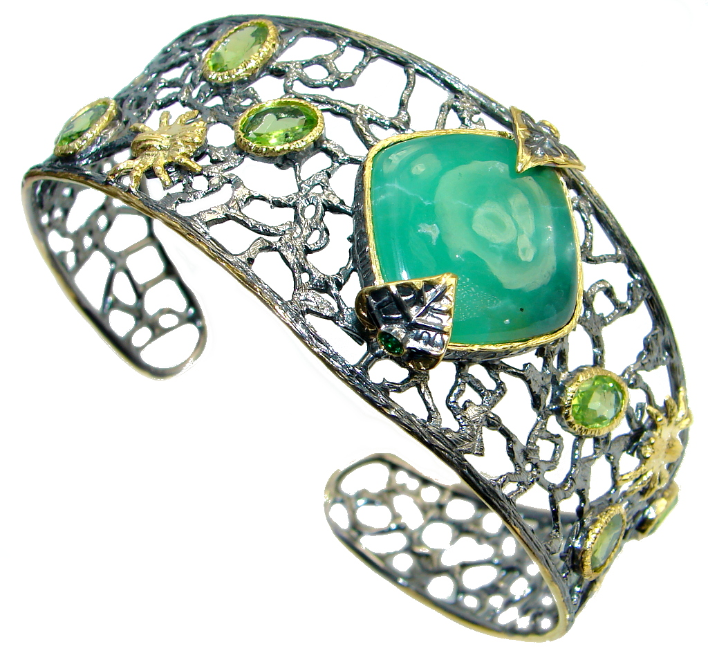Vintag Style Chrysophrase Peridot Oxidized Gold over Sterling Silver handmade Bracelet