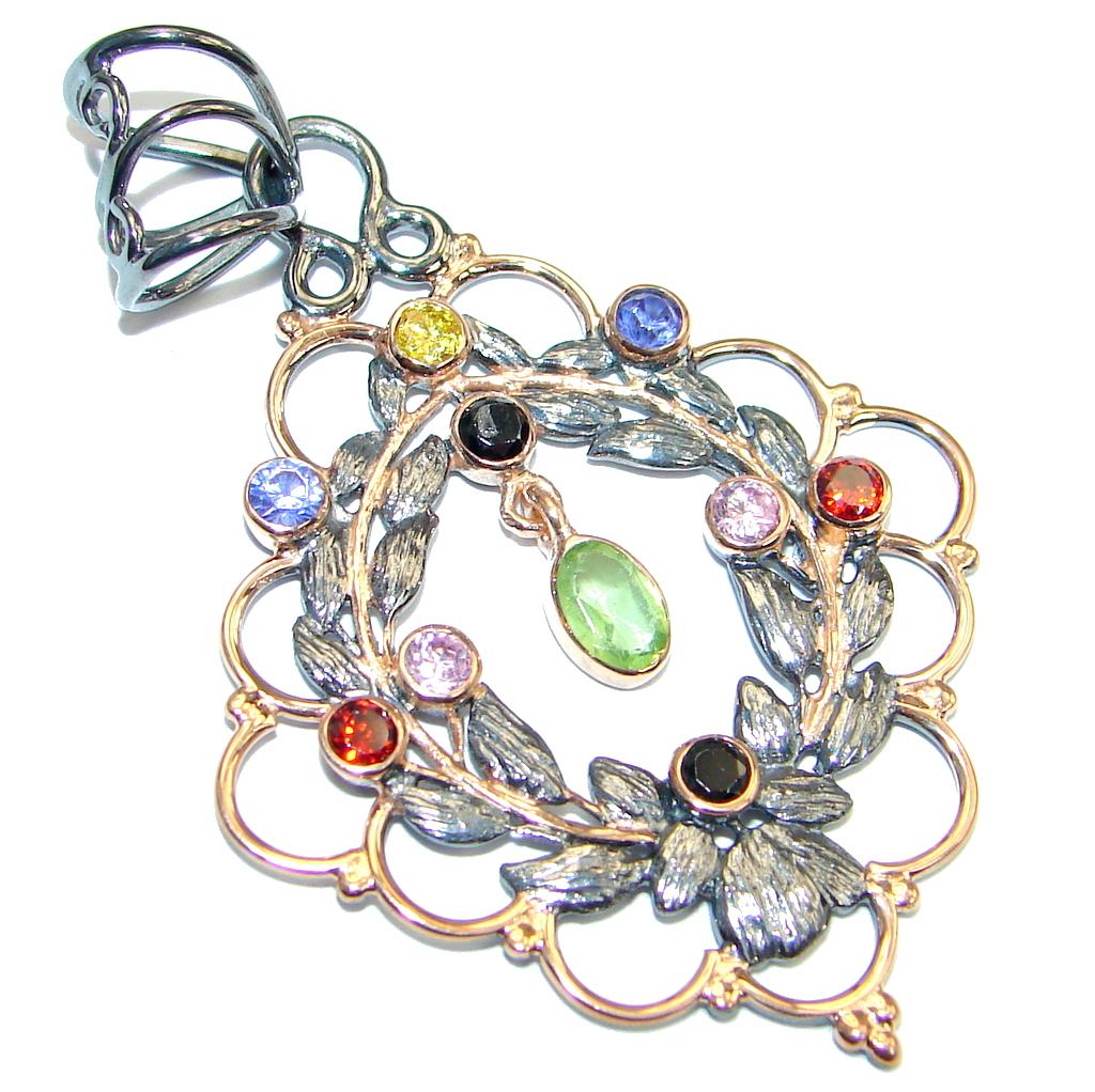 Sweet Secret Multigem Gold plated over Sterling Silver Pendant