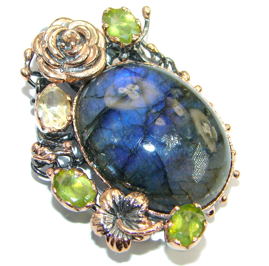 Floral Design Labradorite Peridot Gold plated over Sterling Silver handmade Pendant