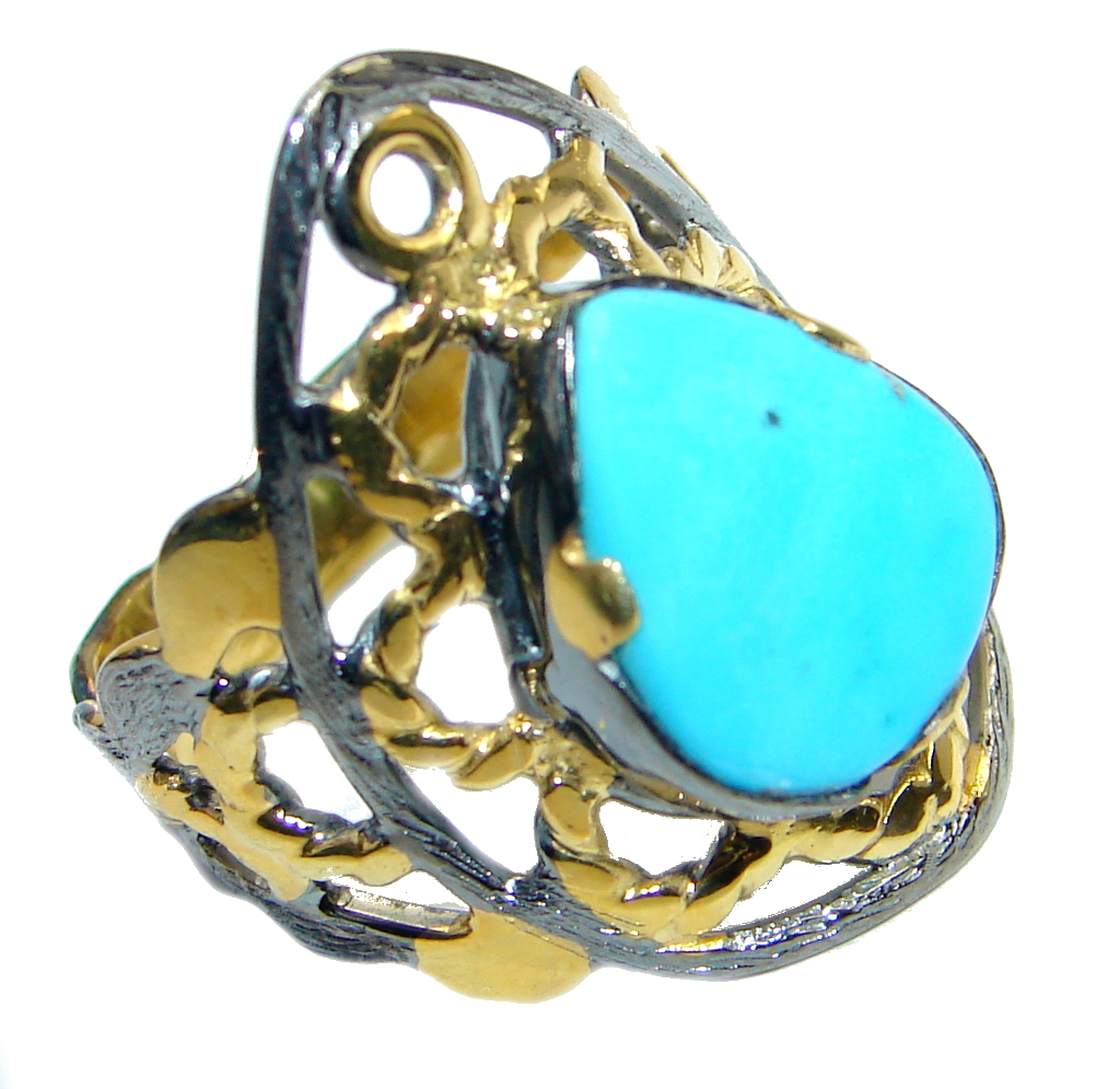 Sleeping Beauty Turquoise Gold Rhodium plated over Sterling Silver Ring size 8