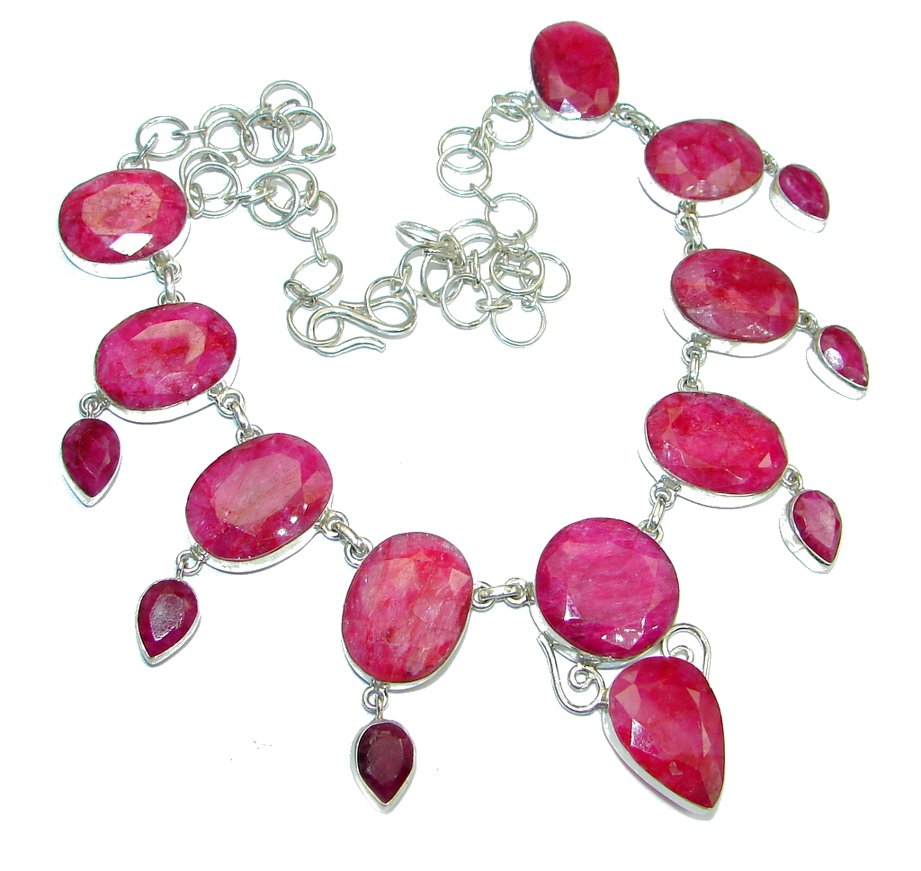 Jumbo Kashmire Treasure natural Ruby Sterling Silver handmade necklace