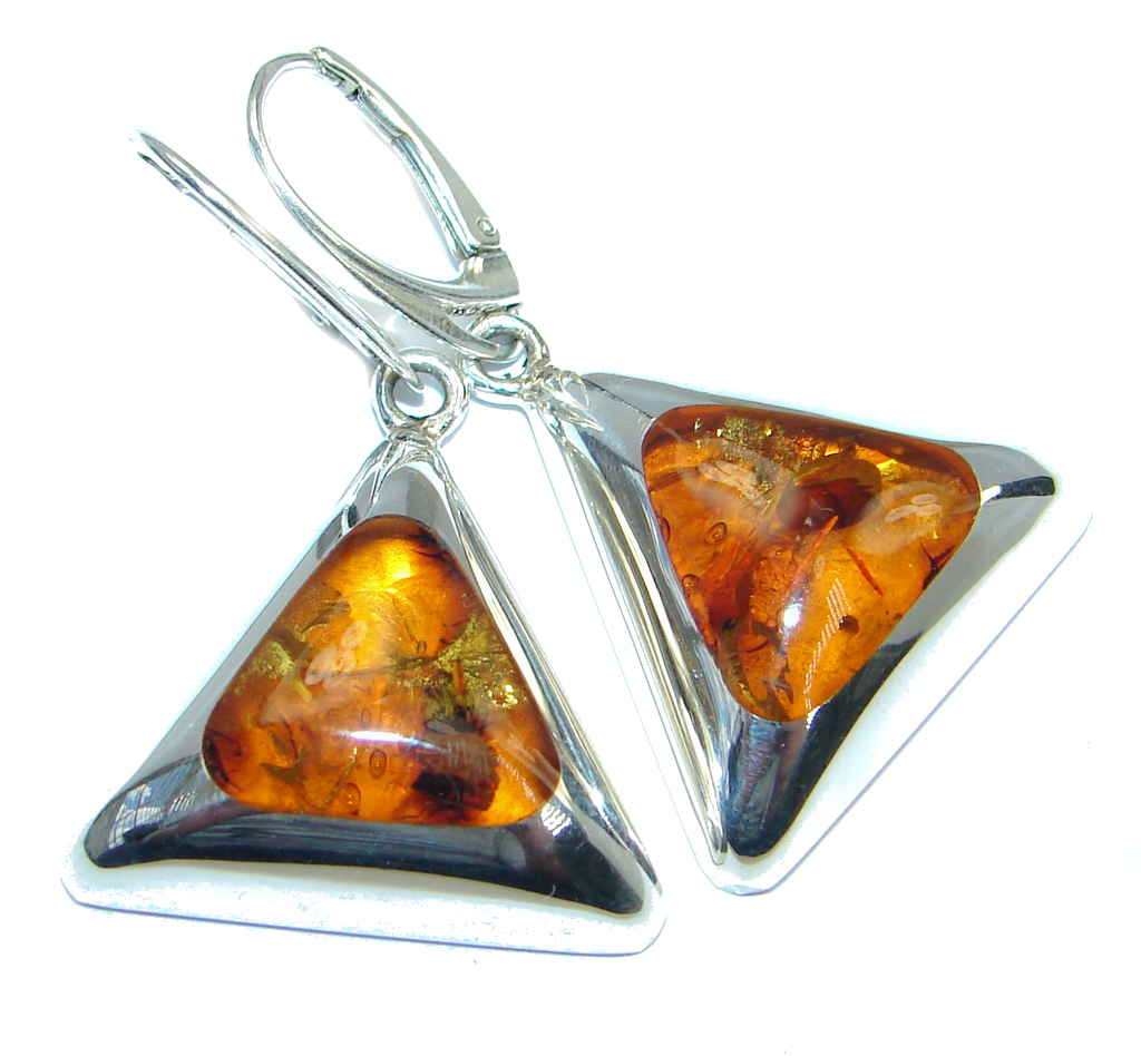 Luxury Genuine Baltic Polish Amber Sterling  Silver handmade Earrings