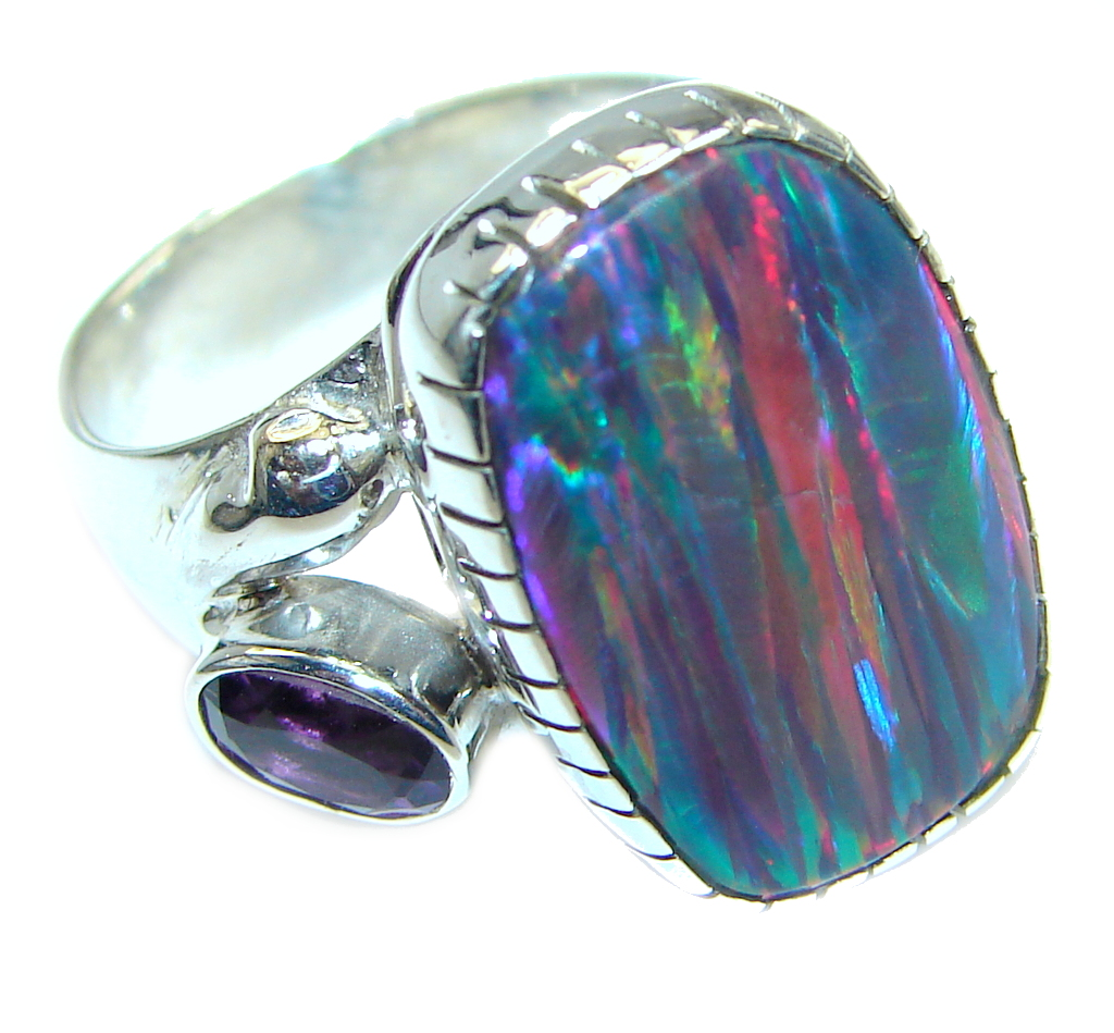Blue Galaxy  Japanese Fire Opal  Sterling Silver  handcrafted  ring size 7 a..