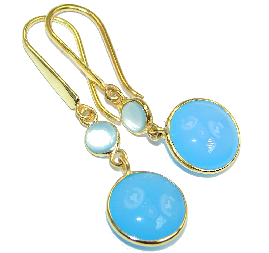Sublime Blue Chalcedony Agate Gold Plated Sterling Silver handmade earrings