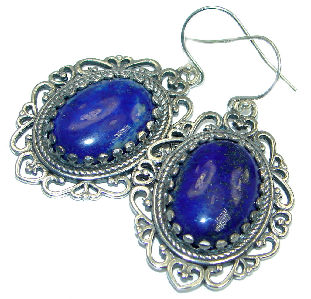 Bold Chic Handcrafted Blue Lapis Lazuli Sterling Silver handmade earrings