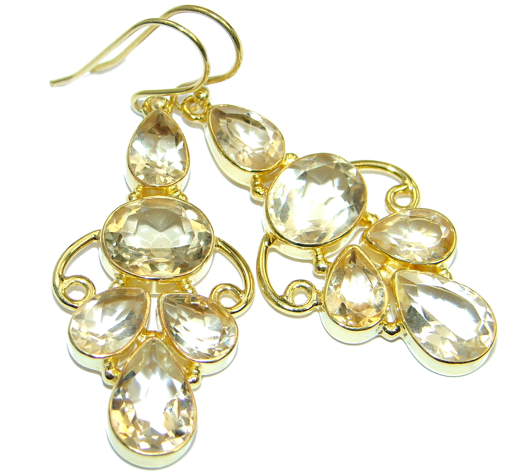 Stylish genuine  Citrine Gold plated over Sterling Silver handmade  earrings