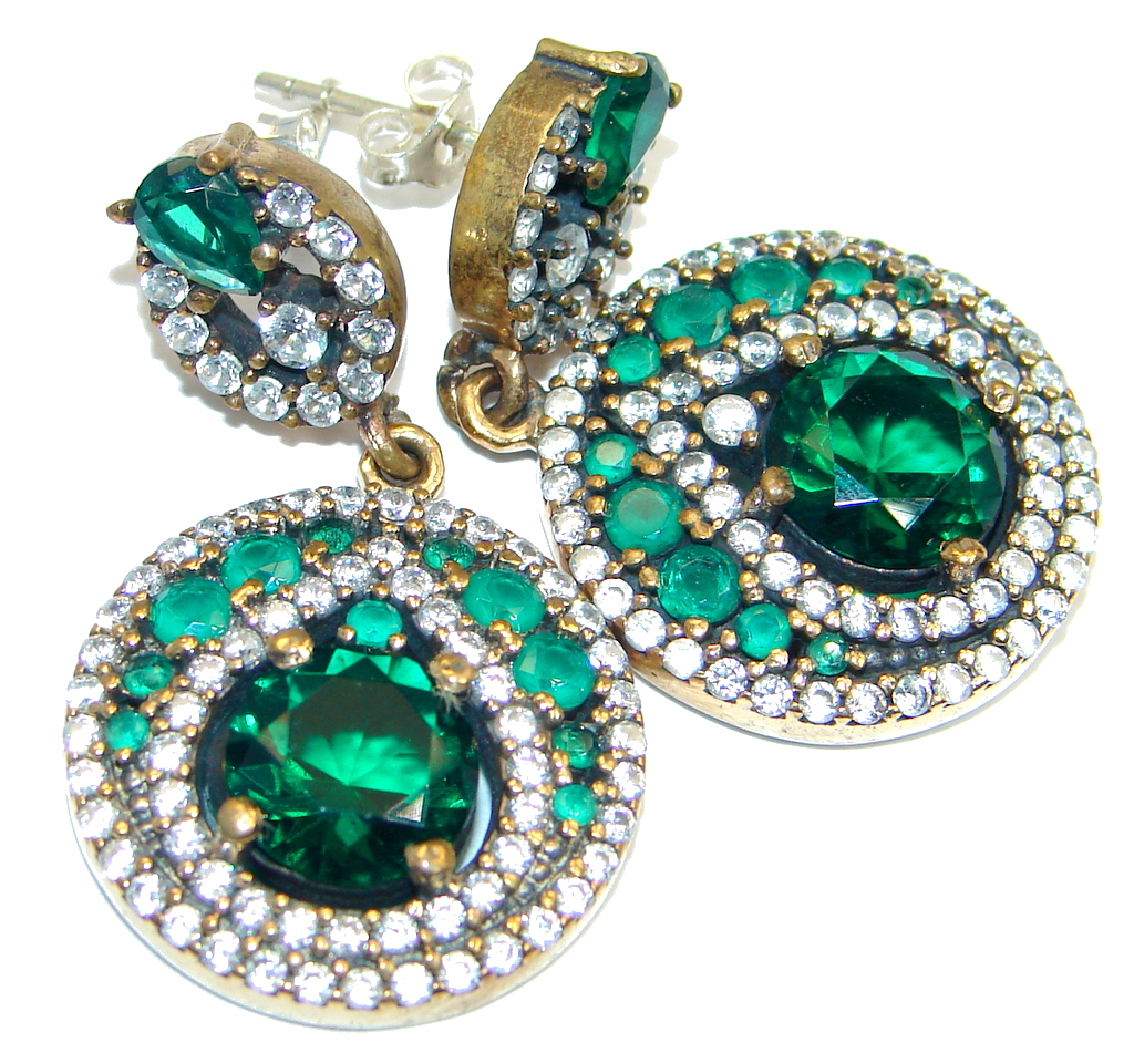 Classy  Victorian Style  created Green Emerald Sterling Silver handmade  ear..