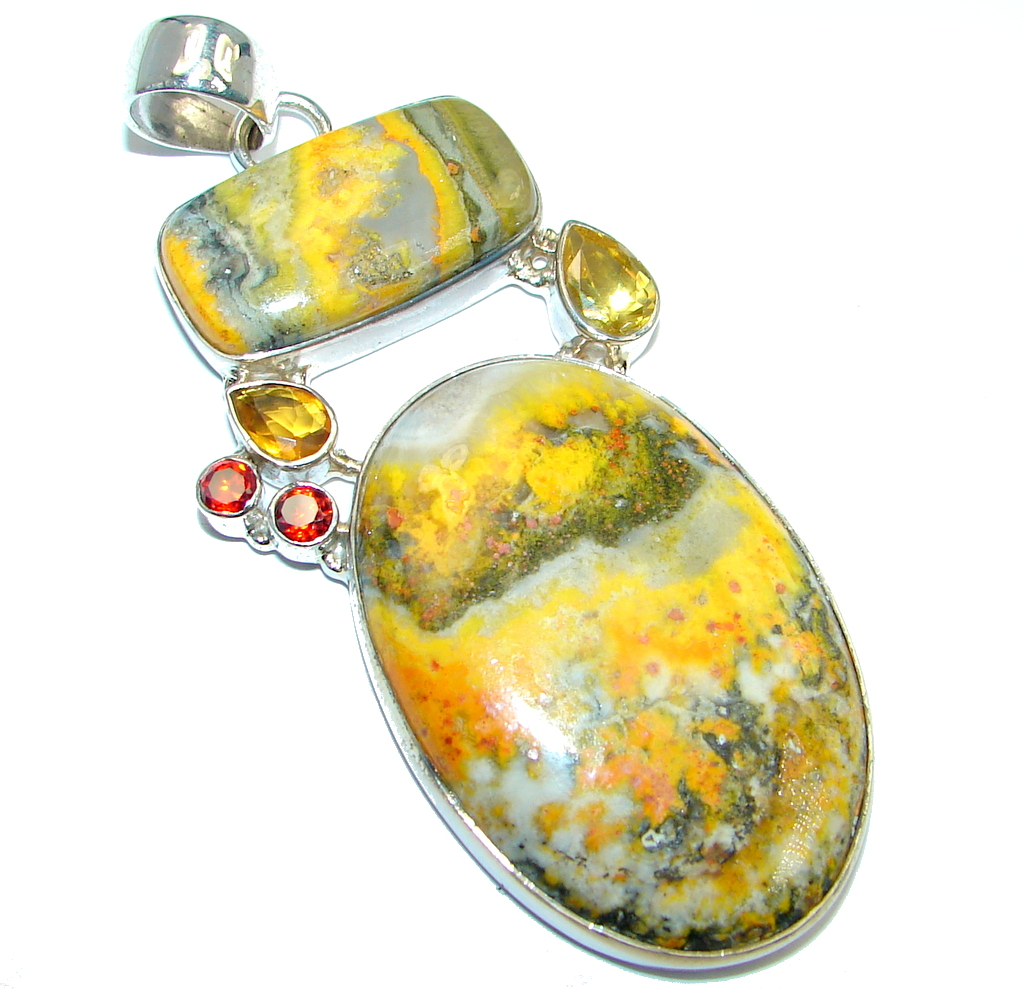 Collected Storm Bumble Bee Jasper Sterling Silver handmade Pendant