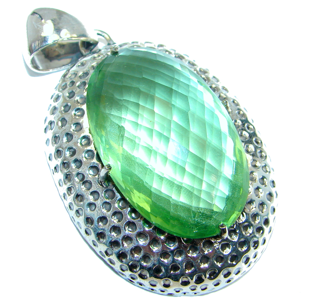 Huge Amazing created Emerald color Quartz Sterling Silver Pendant