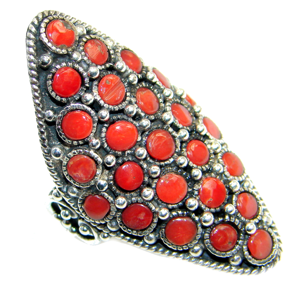 Chic Boho genuine Coral  Sterling Silver handcrafted Ring s. 8