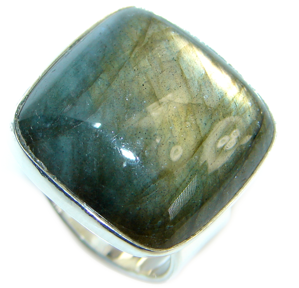Blue Fire Labradorite Gold plated over Sterling Silver handmade ring size 6 1/4