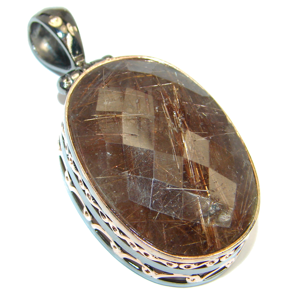 Natural Tourmalinated Quartz Rose Gold plated over .925 Sterling Silver hand..