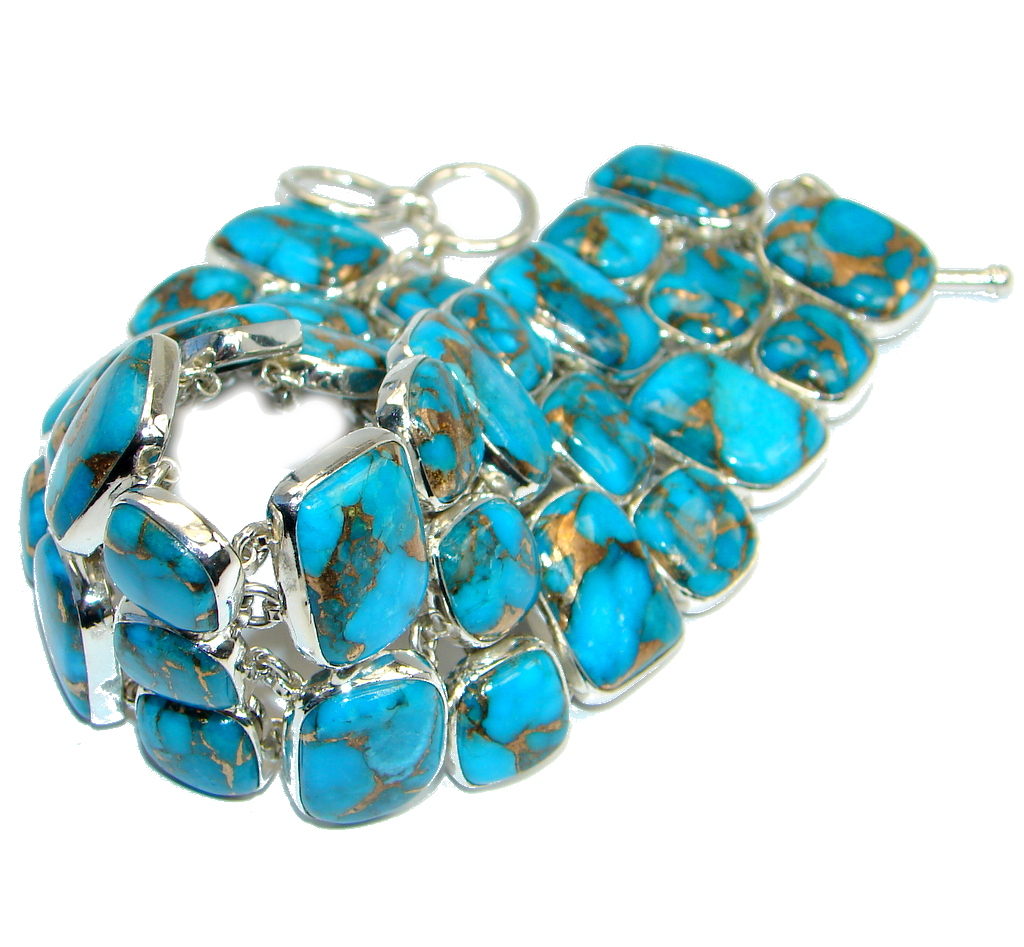 Large Blue Turquoise with copper vains Sterling Silver handmade Bracelet