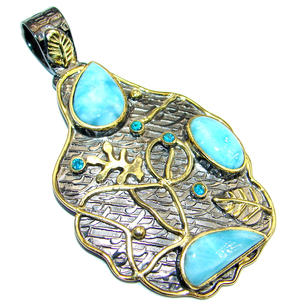 Sublime Design Authentic  Beauty  Larimar  Gold plated over Sterling Silver ..