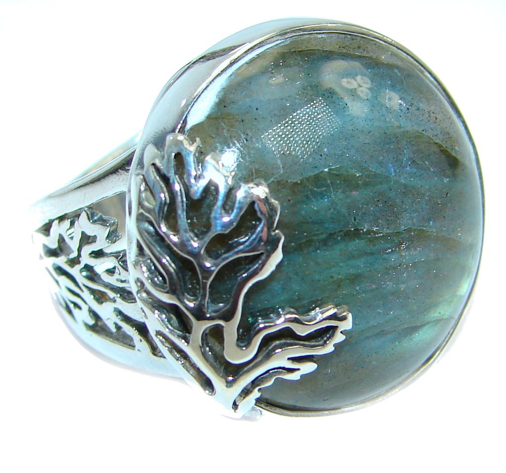 Blue Fire Labradorite .925 Sterling Silver handmade ring size 7 adjustable