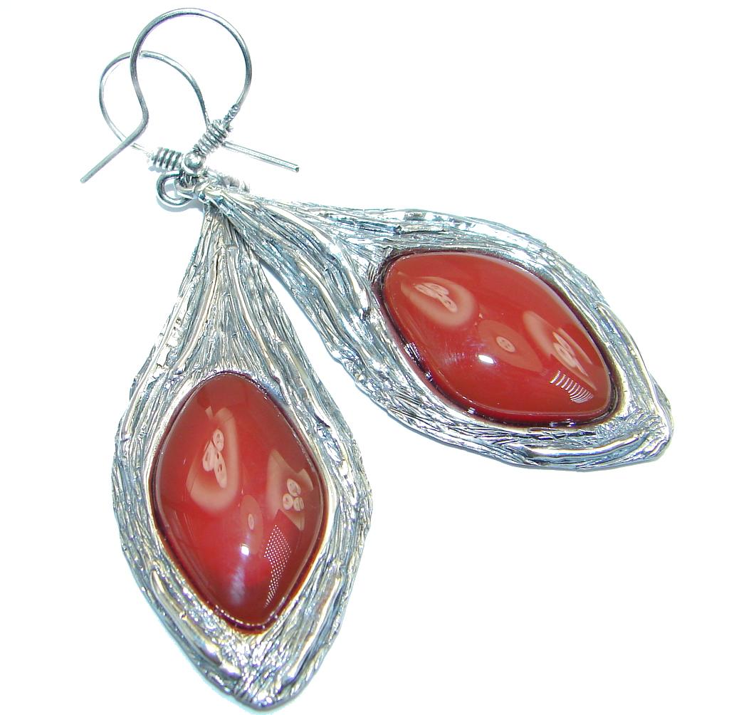 Long Back to nature Red Jasper Sterling Silver handmade earrings