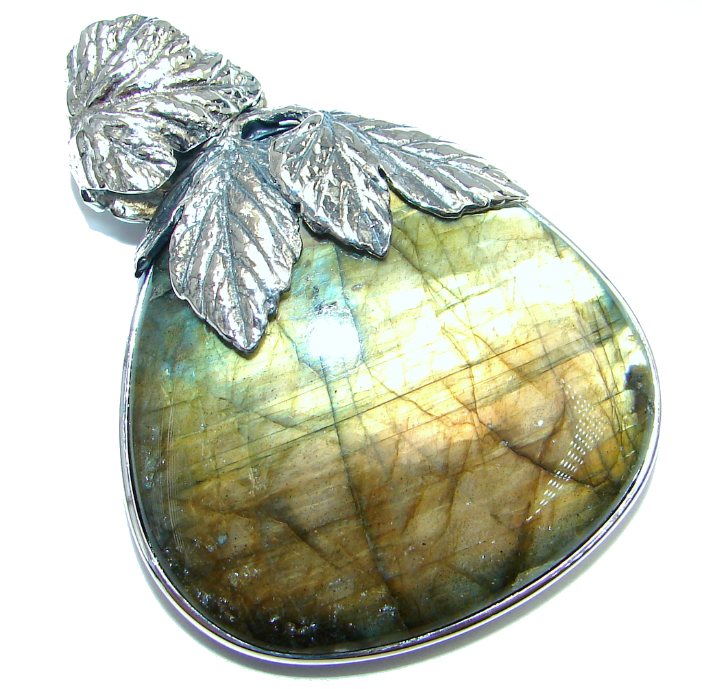 Highest quality genuine Blue Labradorite Sterling Silver handmade Pendant