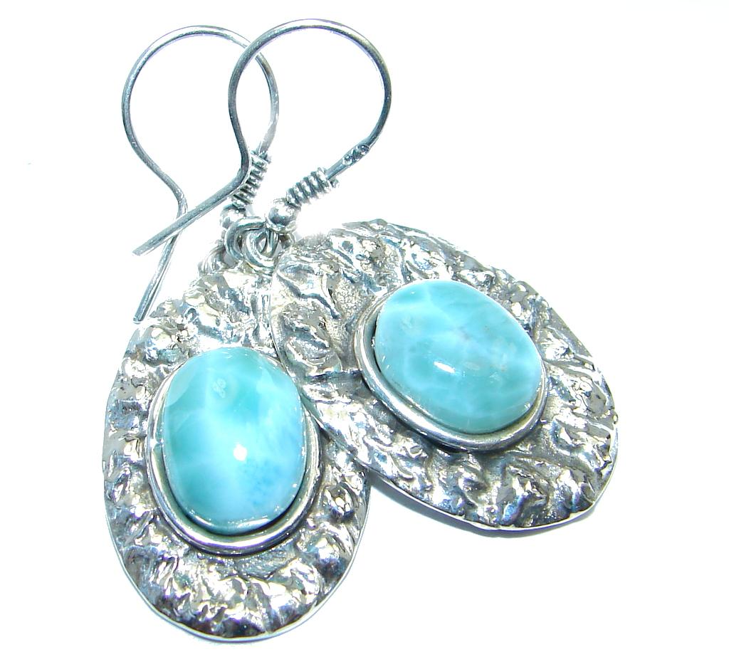 Precious genuine Blue Larimar  .925 Sterling Silver  handmade  earrings