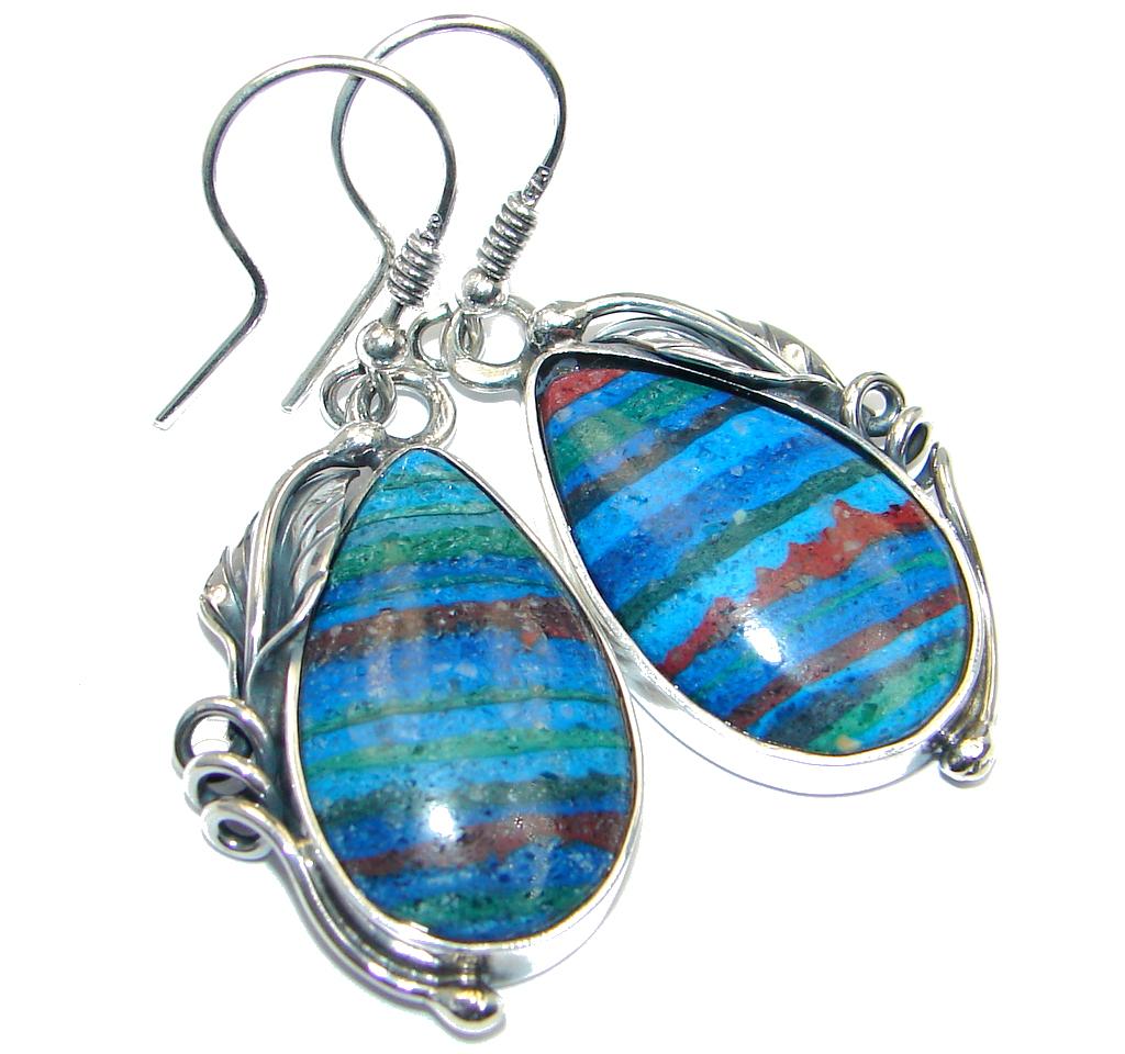 Vintage Design  Rainbow Calsilica .925 Sterling Silver handmade earrings