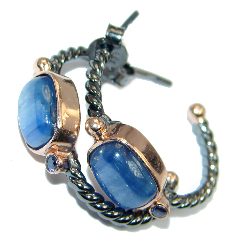 Bold Beauty natural African Kyanite Sapphire Sterling Silver handmade earrings