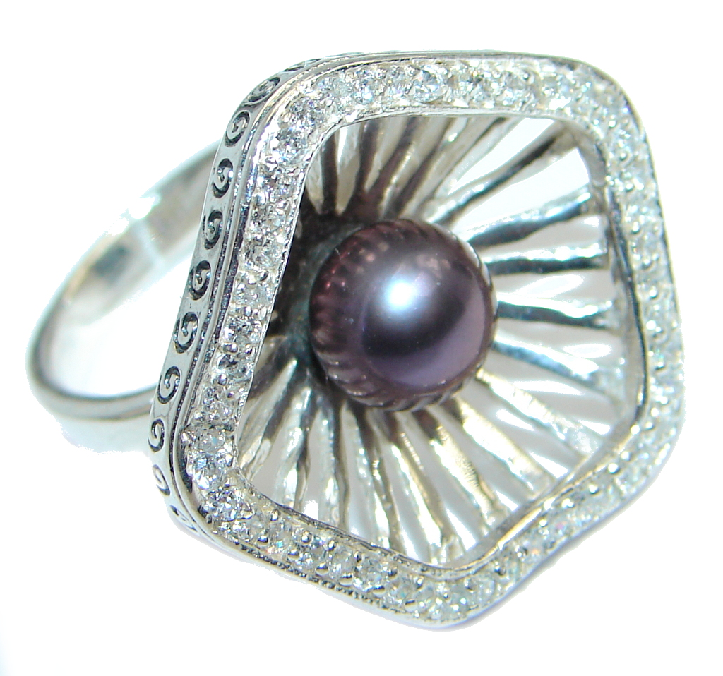 Black Pearl Sterling Silver handmade ring size 5 3/4