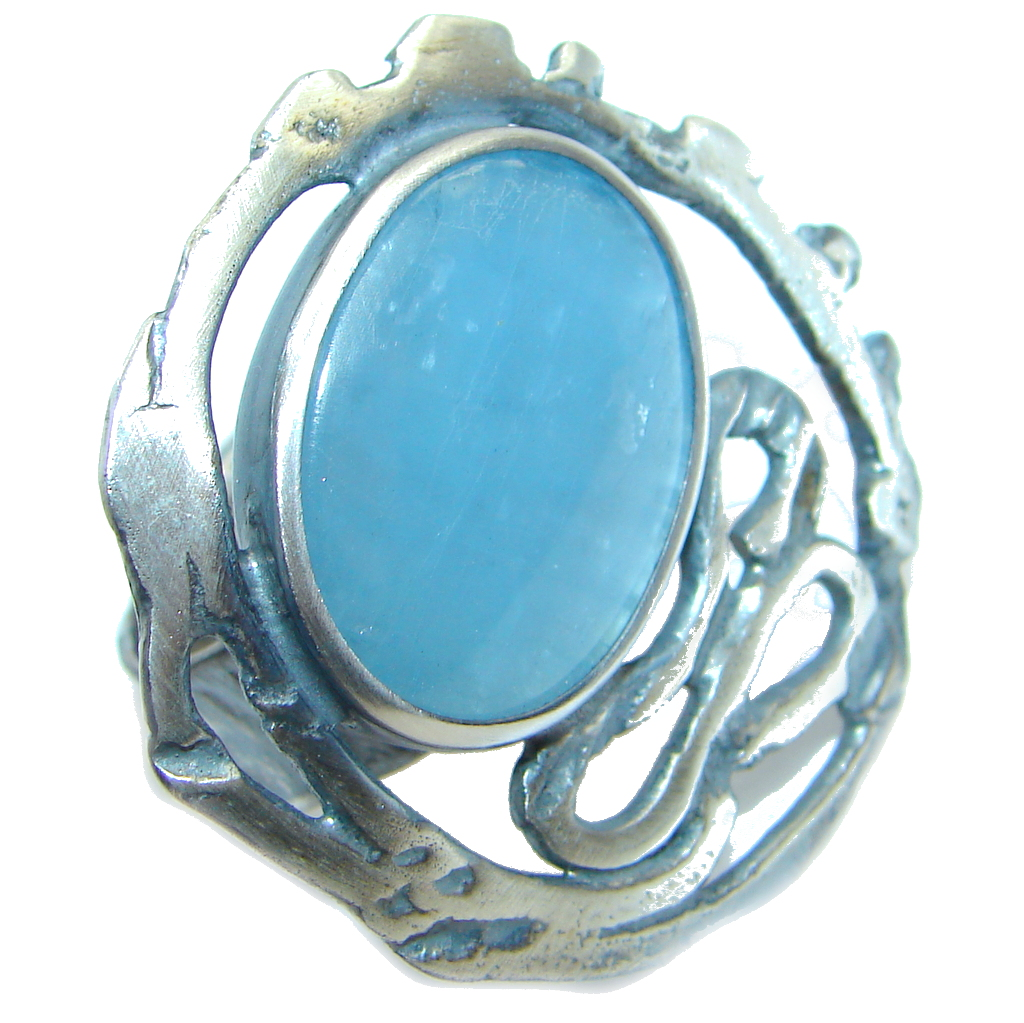 Blue Galaxy  Natural 15 ct. Aquamarine Gold  Plated over Sterling Silver Rin..