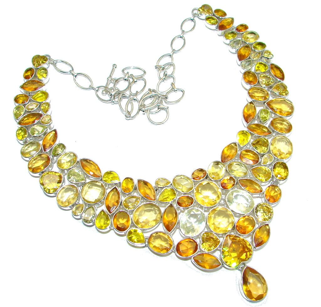 Chic and Dramatic Lab. created Yellow Quartz Sterling Silver handmade necklace