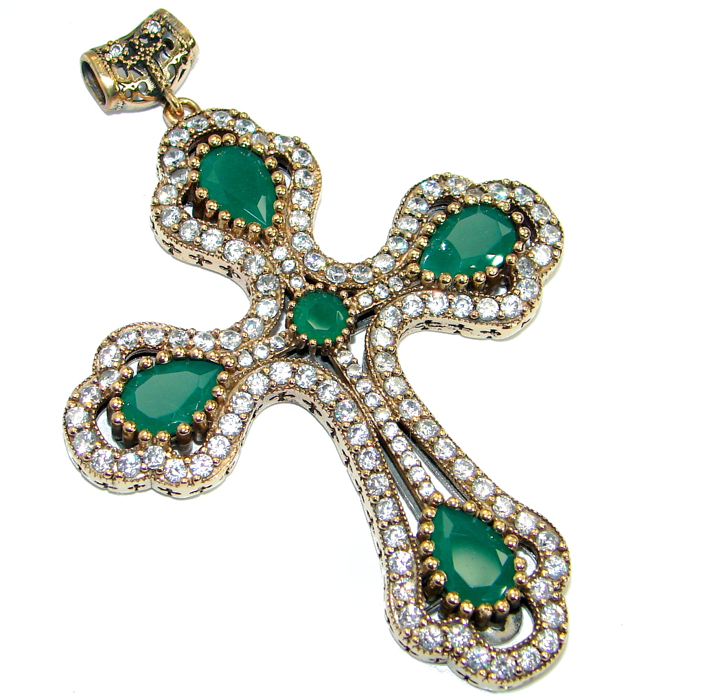 Oversized 39.5 grams  Cross created Emerald  Sterling Silver handmade Pendant