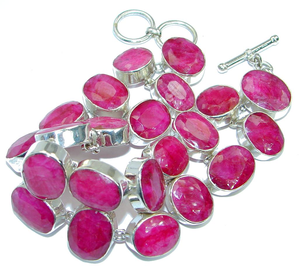 Huge Special Item Natural Red Ruby .925 Sterling Silver handmade Bracelet