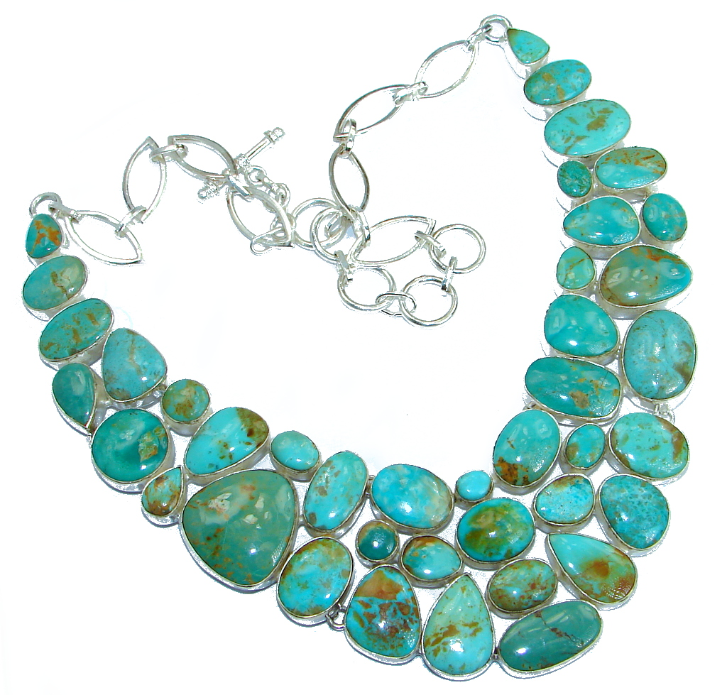 Huge Gallery Masterpiece Blue genuine Carico Lake Turquoise .925 Sterling Silver necklace