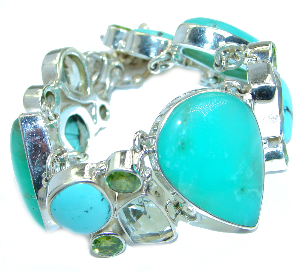 Chunky authentic Green Chrysoprase Peridot .925 Sterling Silver handmade Bracelet
