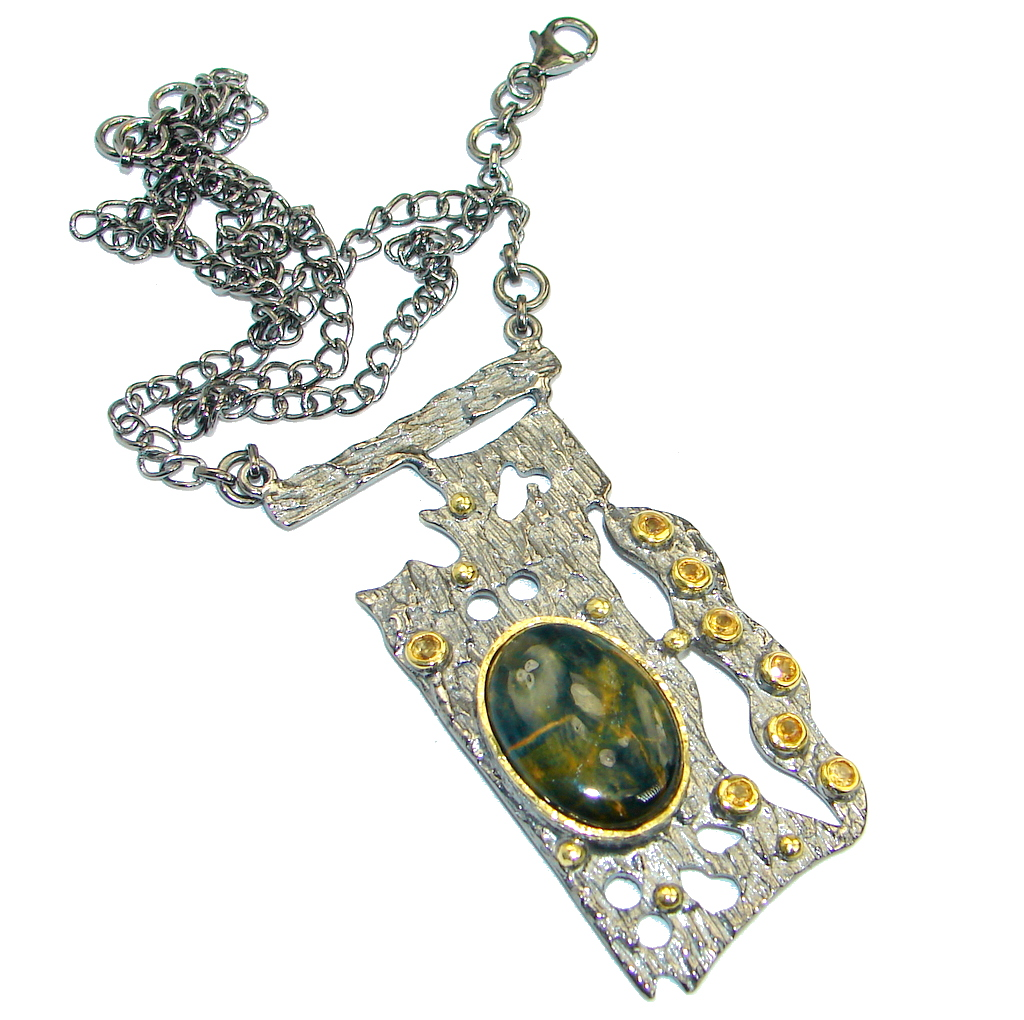 One of the kind Natural Pietersite Citrine Rhodium plated over .925 Sterling Silver handmade necklace