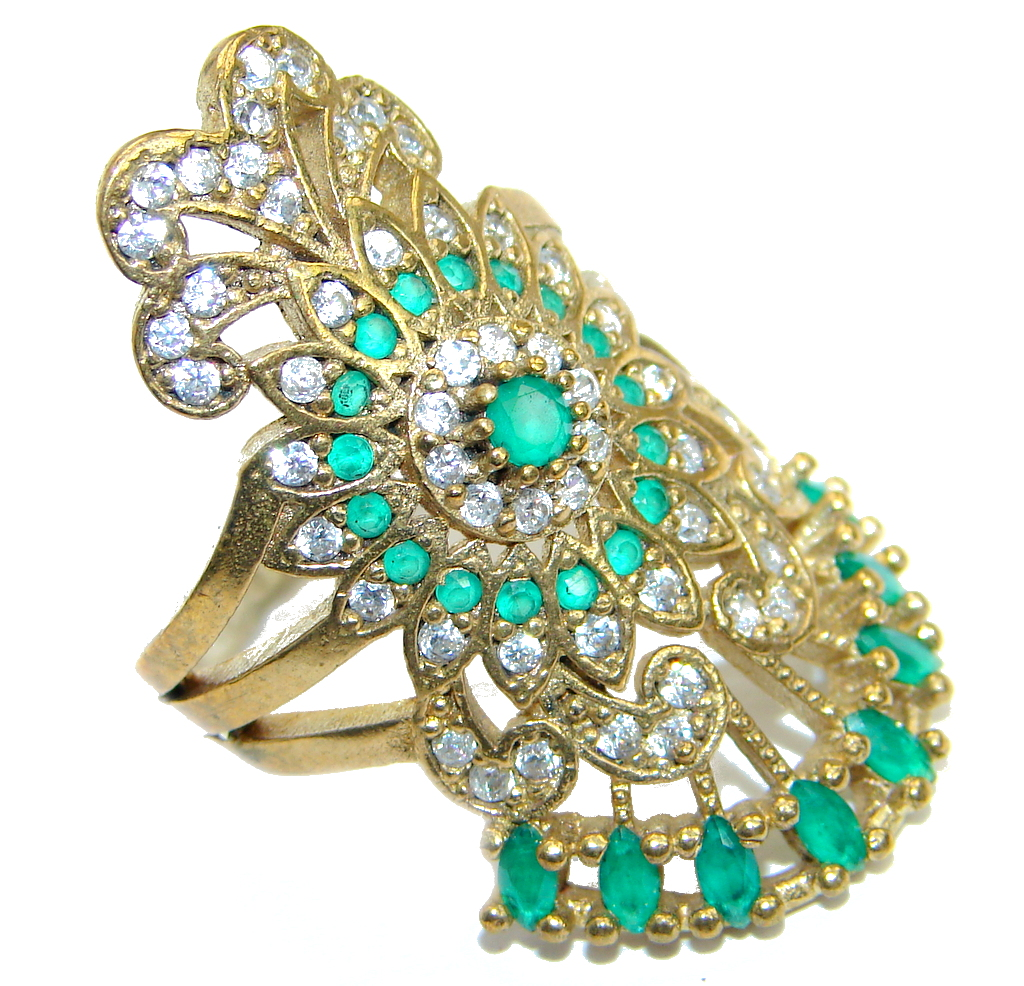 Victorian Style created Emerald & White Topaz Copper over Sterling Silver ring; s. 7 3/4