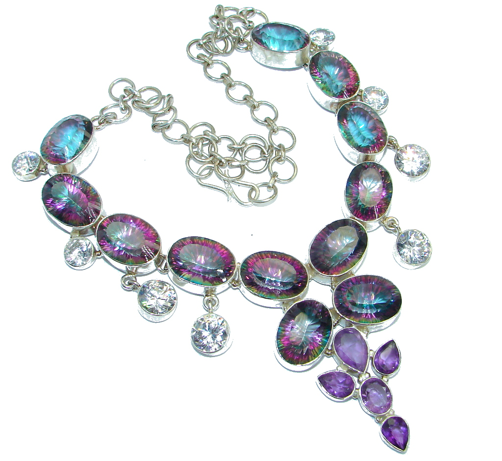 Magic Reef Rainbow Topaz Amethyst .925 Sterling Silver handmade necklace