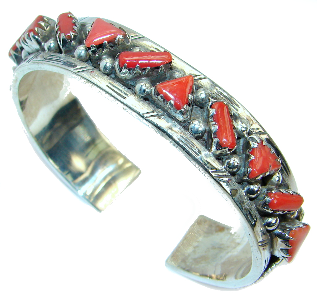 Jumbo Boho Chic  Genuine Fossilized Coral  Sterling Silver handmade Bracelet..