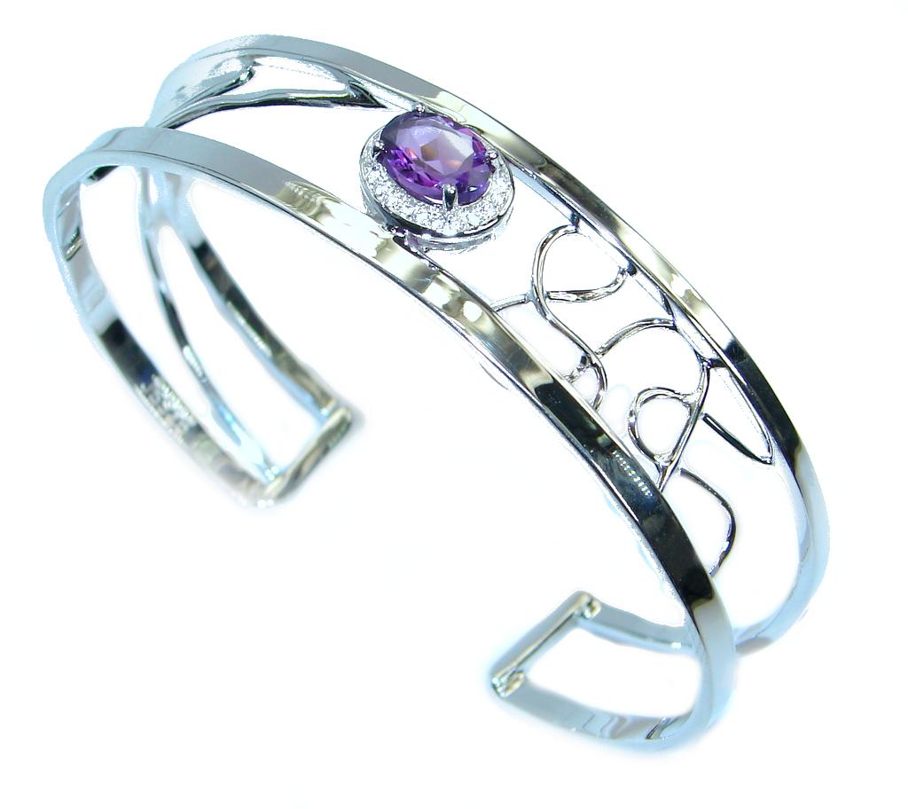 Sublime Genuine Amethyst White Topaz Sterling Silver handmade Bracelet