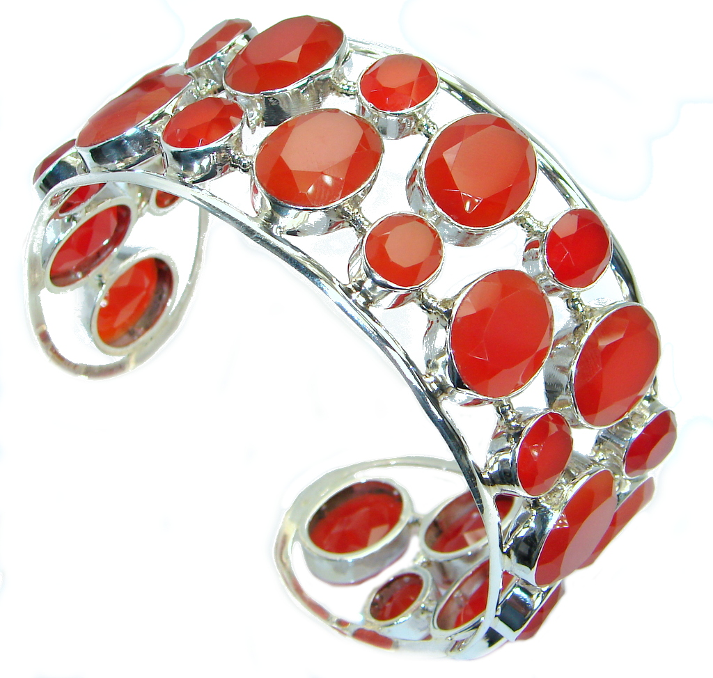 Aura Of Beauty Chunky Authentic Carnelian Agate Sterling Silver handcrafted Bracelet