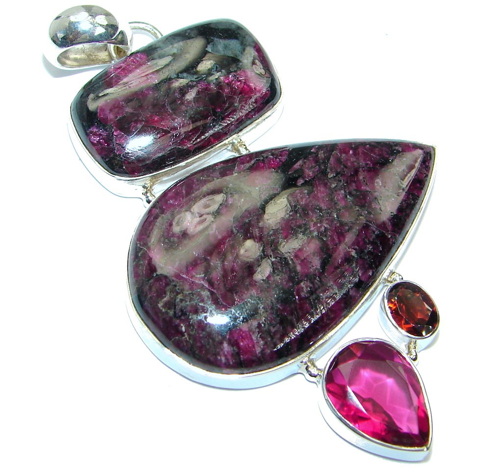 Huge genuine Russian Eudialyte Pink lab. Ruby Sterling Silver handcrafted Pendant