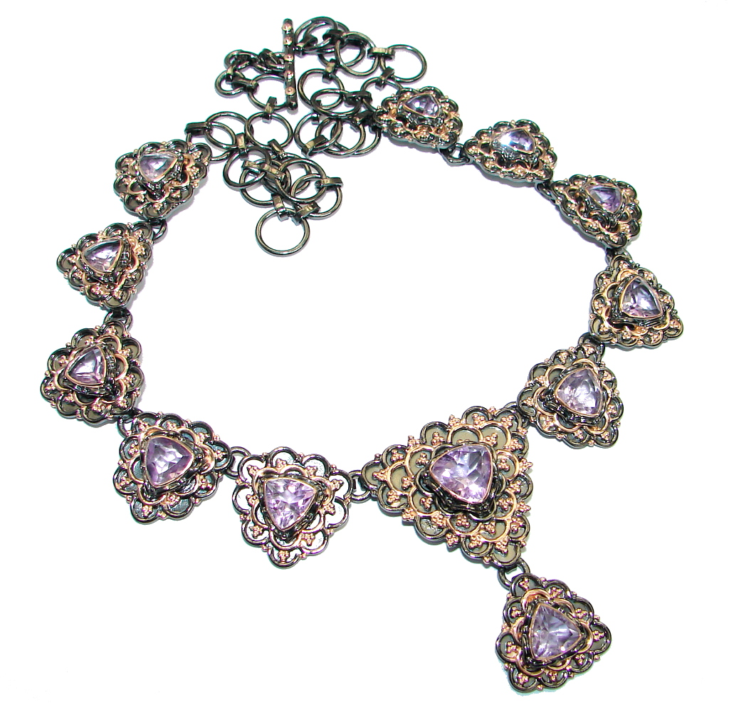 Genuine faceted Amethyst Rose Gold plated over .925 Sterling Silver handmade necklace
