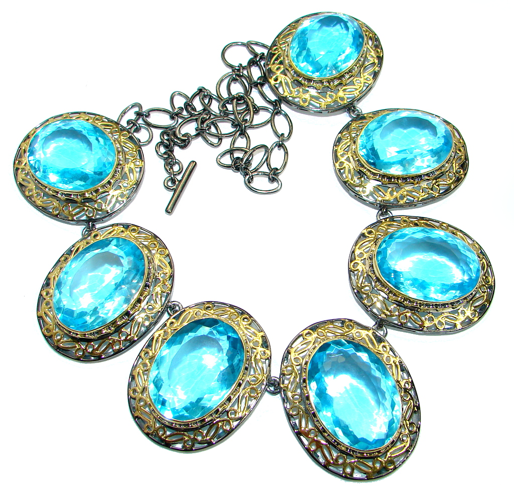 Chunky Andromeda created Swiss Blue Topaz Gold plated over .925 Sterling Silver handmade necklace