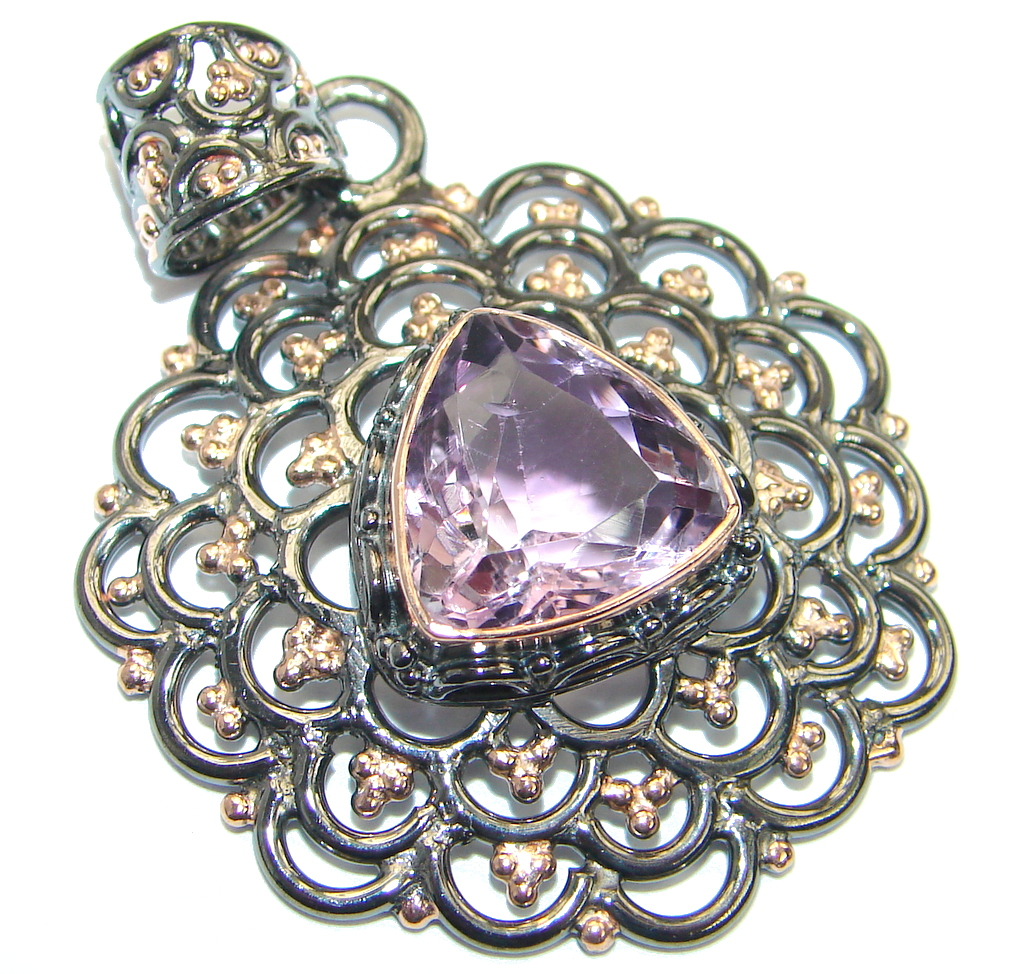 Great Silverwork Amethyst Rose Gold plated over .925  Sterling Silver handma..